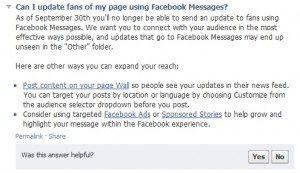 Geen prive berichten naar Facebook fans