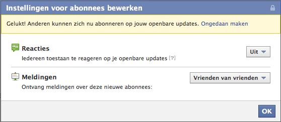 Instellingen voor Facebook abonnees bewerken