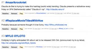 Welke hashtags zijn trending en wat betekenen ze op Twitter?