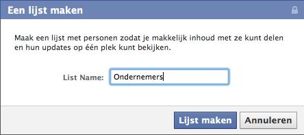 De Facebook lijst een naam geven