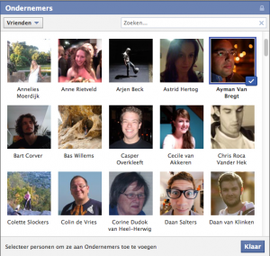 Facebook vrienden selecteren en toevoegen aan de Facebook lijst