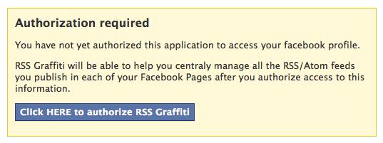 Geef Facebook toestemming om RSS Graffiti te gebruiken