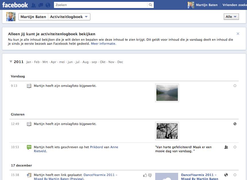 Het Facebook Timeline Activiteitlogboek