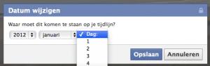 De datum instellen van een Facebook afbeelding