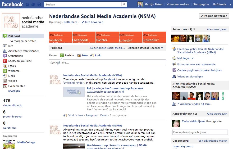 De NSMA Facebook Bedrijfspagina