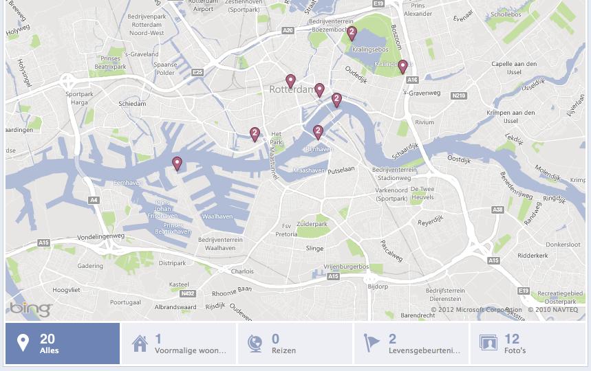 Facebook kaart op je Tijdlijn