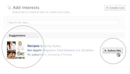 Het abonneren op Facebook Interesse Lijsten