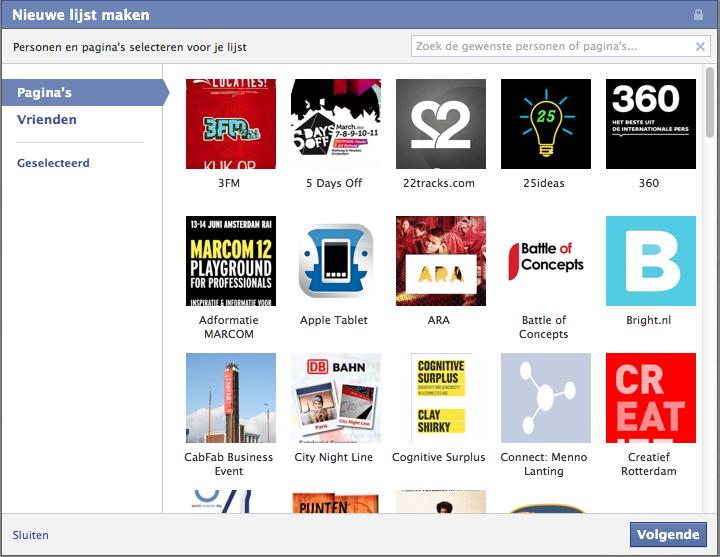 Voeg mensen en pagina's toe aan je Facebook lijst