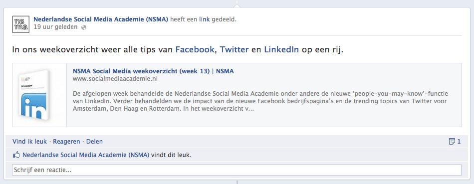 Een statusupdate uitlichten op een Facebook bedrijfspagina