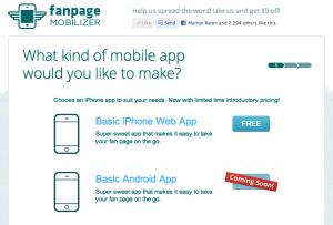 Kies voor de gratis optie; Web App