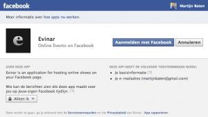 Evinar: Toestemming geven aan Facebook
