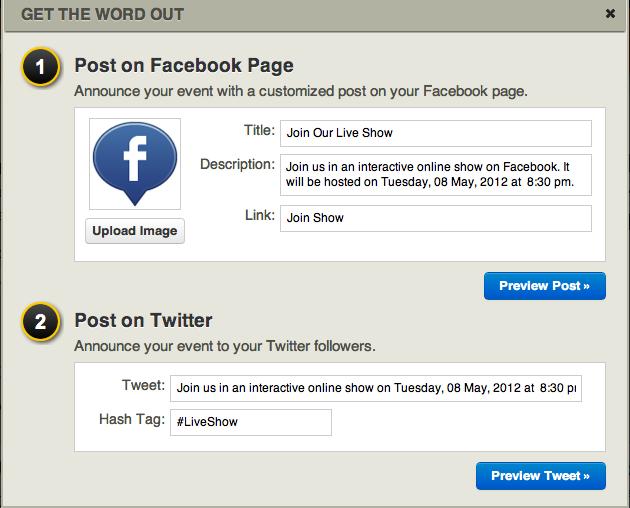 Evinar: Plaats een Facebook statusupdate over je livestream
