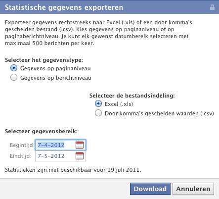 Statistische gegevens exporteren van een Facebook bedrijfspagina