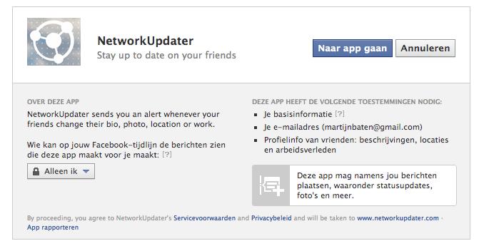 Geef Facebook toestemming om de NetworkUpdater te gebruiken