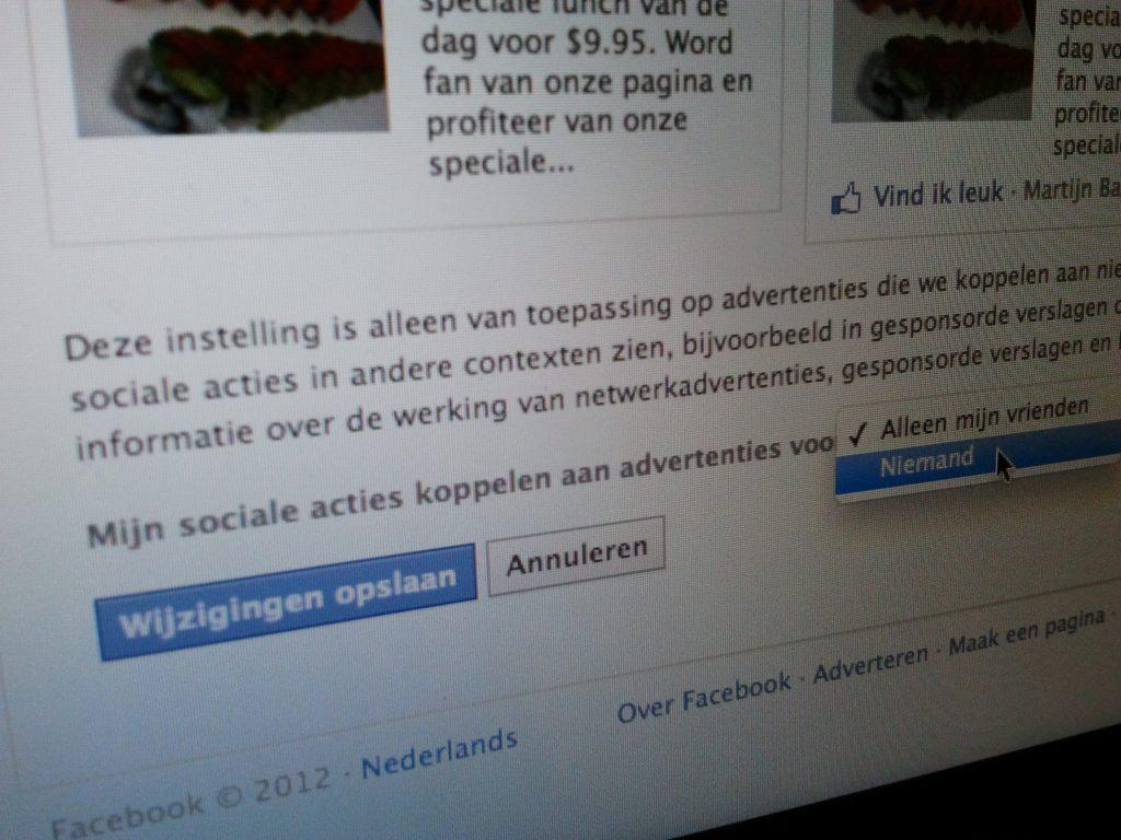 Verberg je Facebook profiel voor gesponsorde verslagen