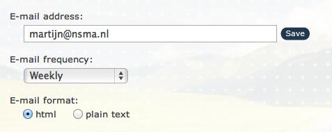E-mailinstellingen bij NetworkUpdater