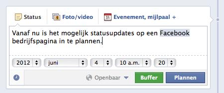 Een statusupdate inplannen op een Facebook bedrijfspagina