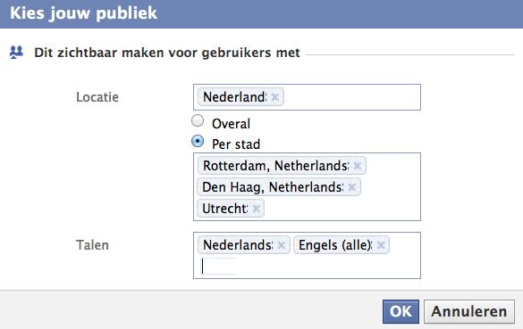 Kies jouw publiek bij het plaatsen van een statusupdate vanaf een Facebook bedrijfspagina