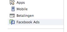 Kies voor de optie 'Facebook Ads'