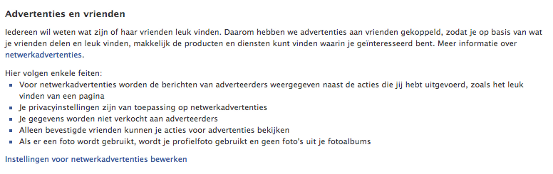 Advertenties en Vrienden op Facebook