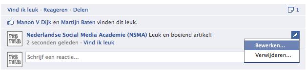 Bewerk de reactie op een Facebook statusupdate