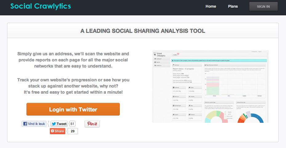Ga in je webbrowser naar www.socialcrawlytics.com