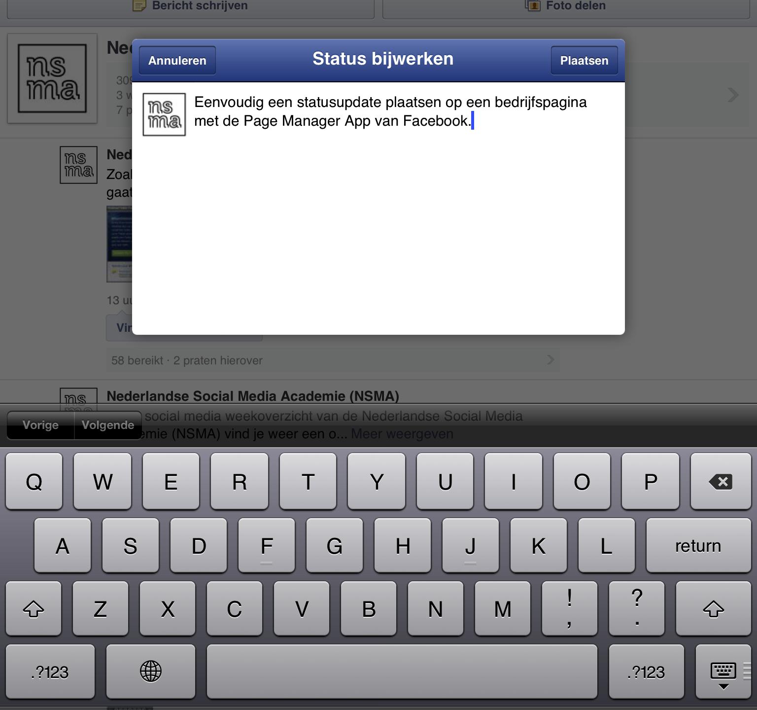 Een statusupdate plaatsen vanuit de Paginabeheer app