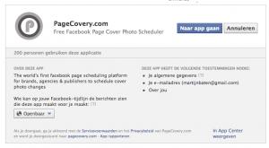 Geef Facebook toestemming voor gebruik van Pagecovery