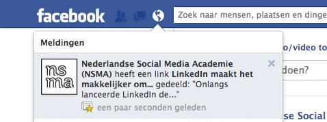 Bekijk de melding van een Facebook bedrijfspagina