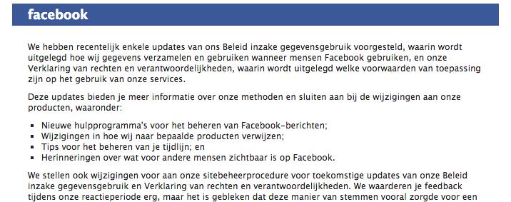Veranderingen Facebook Beleid inzake gegevensgebruik en Verklaring van rechten en verantwoordelijkheden