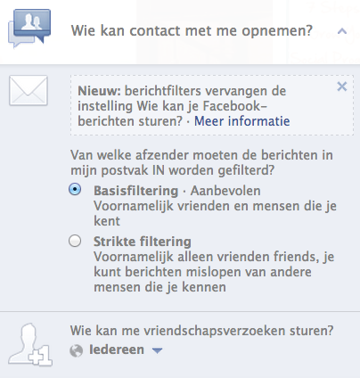 Wie kan contact met me opnemen? - Privacyinstellingen Facebook