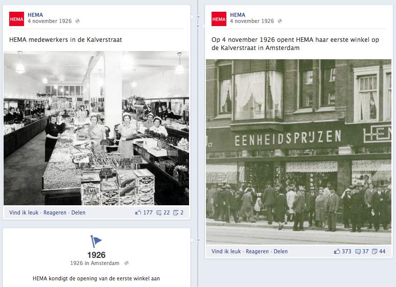 Mijlpalen HEMA op Facebook bedrijfspagina