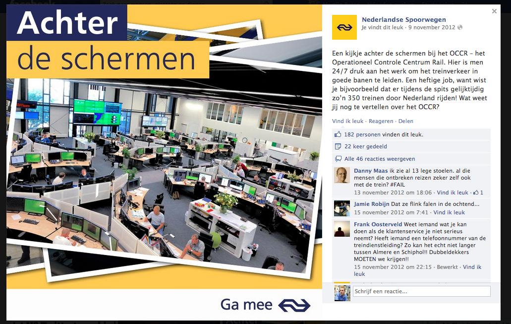 Achter de schermen Nederlandse Spoorwegen Facebook bedrijfspagina