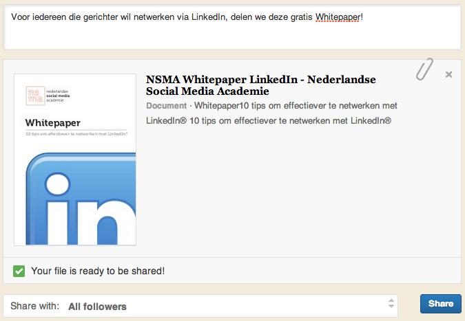voorvertoning wijzigen - statusupdate LinkedIn bedrijfspagina