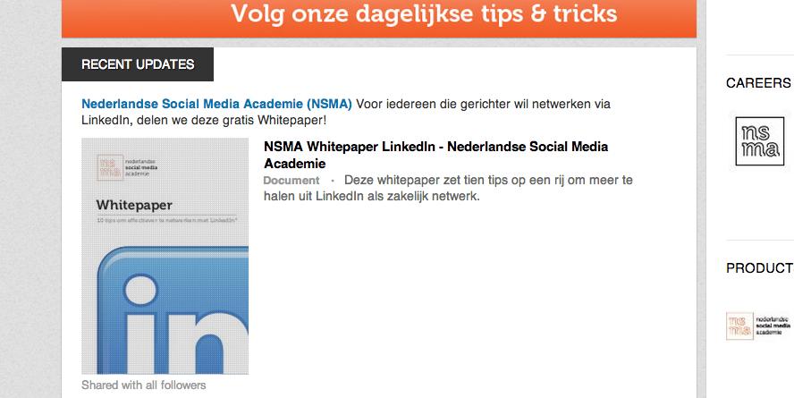 Bestanden delen - LinkedIn bedrijfspagina