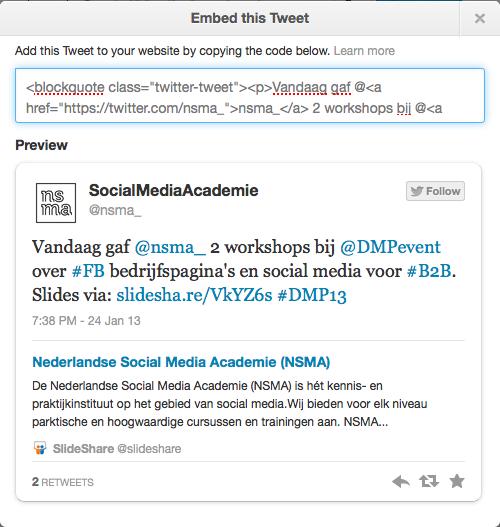 html code van een embedded tweet op Twitter