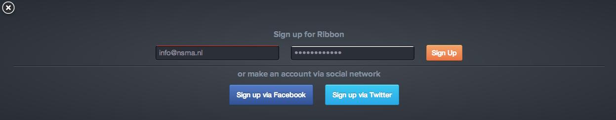 Account aanmaken bij Ribbon