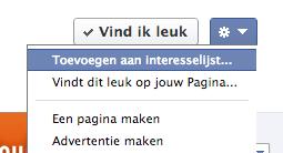 Een Facebook bedrijfspagina toevoegen aan een interesselijst