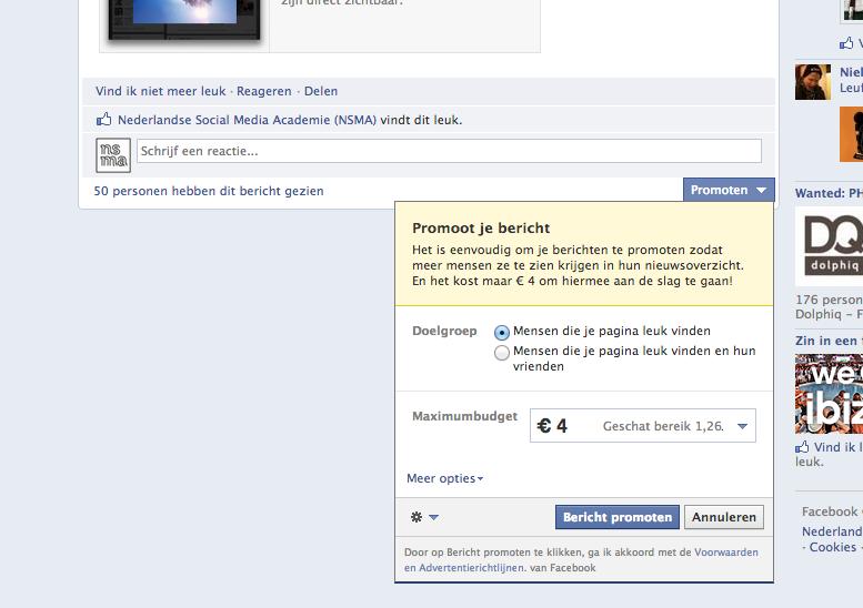 Facebook gepromote berichten