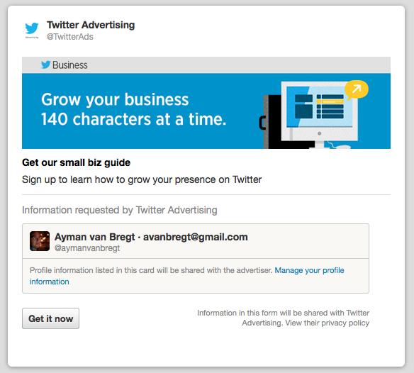 Twitter test advertentie gericht op leadgeneratie