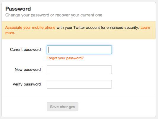 Wachtwoord wijzigen op Twitter