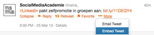 Een embedded tweet centreren