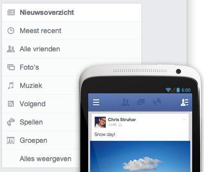 Het filteren van het Facebook Nieuwsoverzicht