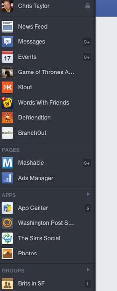 Nieuw menu Facebook nieuwsoverzicht