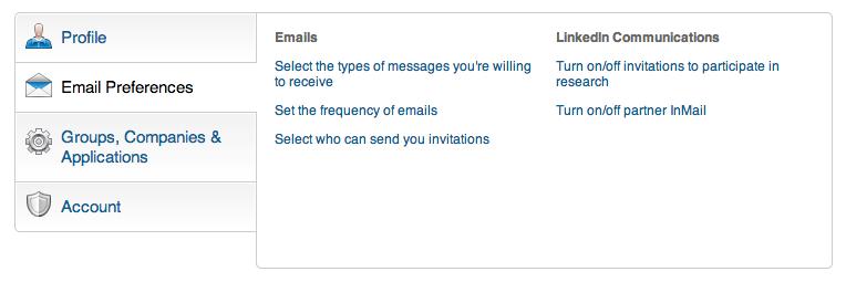 E-mailvoorkeuren LinkedIn