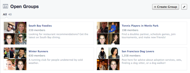 Facebook Open Groepen