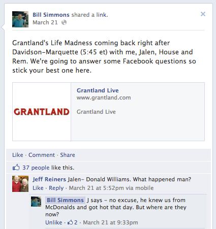 Facebook reactielinks op Facebook bedrijfspagina
