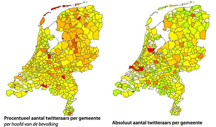 Het aantal Nederlandse Twitter accounts per gemeente