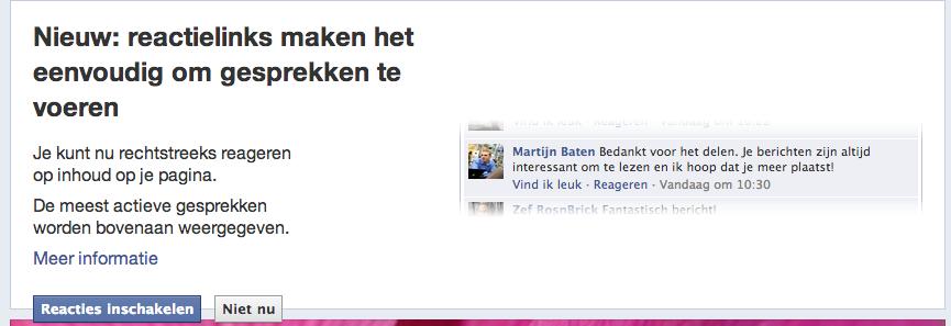 Reactielinks Facebook