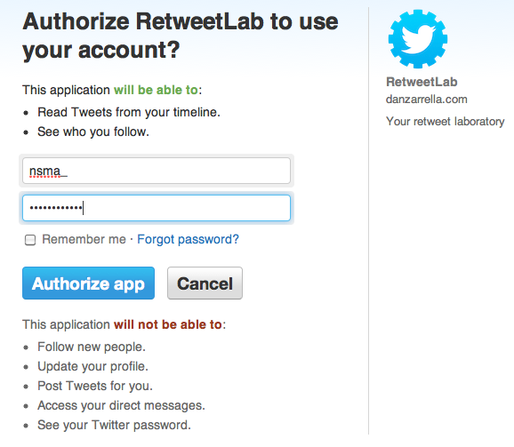 RetweetLab toegang geven tot Twitter